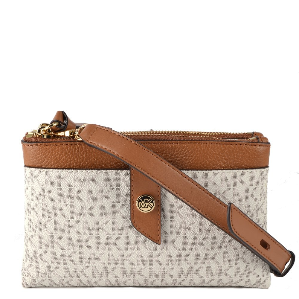 Vanilla Medium Logo Double zip Crossbody Bag