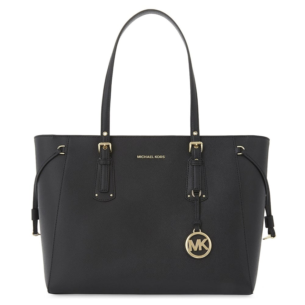 4acf34c91185 MICHAEL MICHAEL KORS Voyager Black Leather Medium Top Zip Tote Bag
