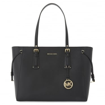 Voyager Black Leather Medium Top Zip Tote Bag