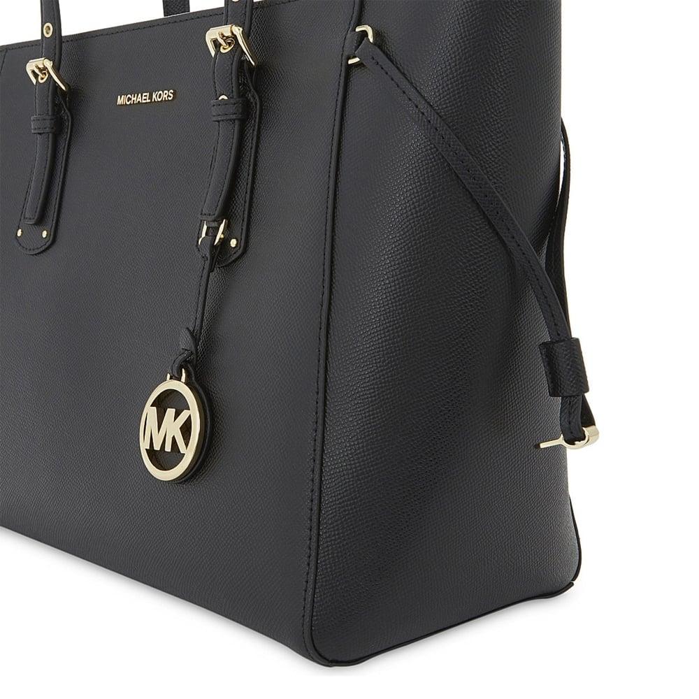 4acf34c91185 MICHAEL MICHAEL KORS Voyager Black Leather Medium Top Zip Tote Bag