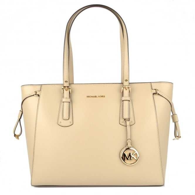 MICHAEL by Michael Kors Voyager Oat Leather Medium Top Zip Tote Bag