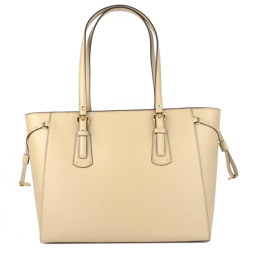 03a4f0d9d7ff MICHAEL MICHAEL KORS Voyager Oat Leather Medium Top Zip Tote Bag