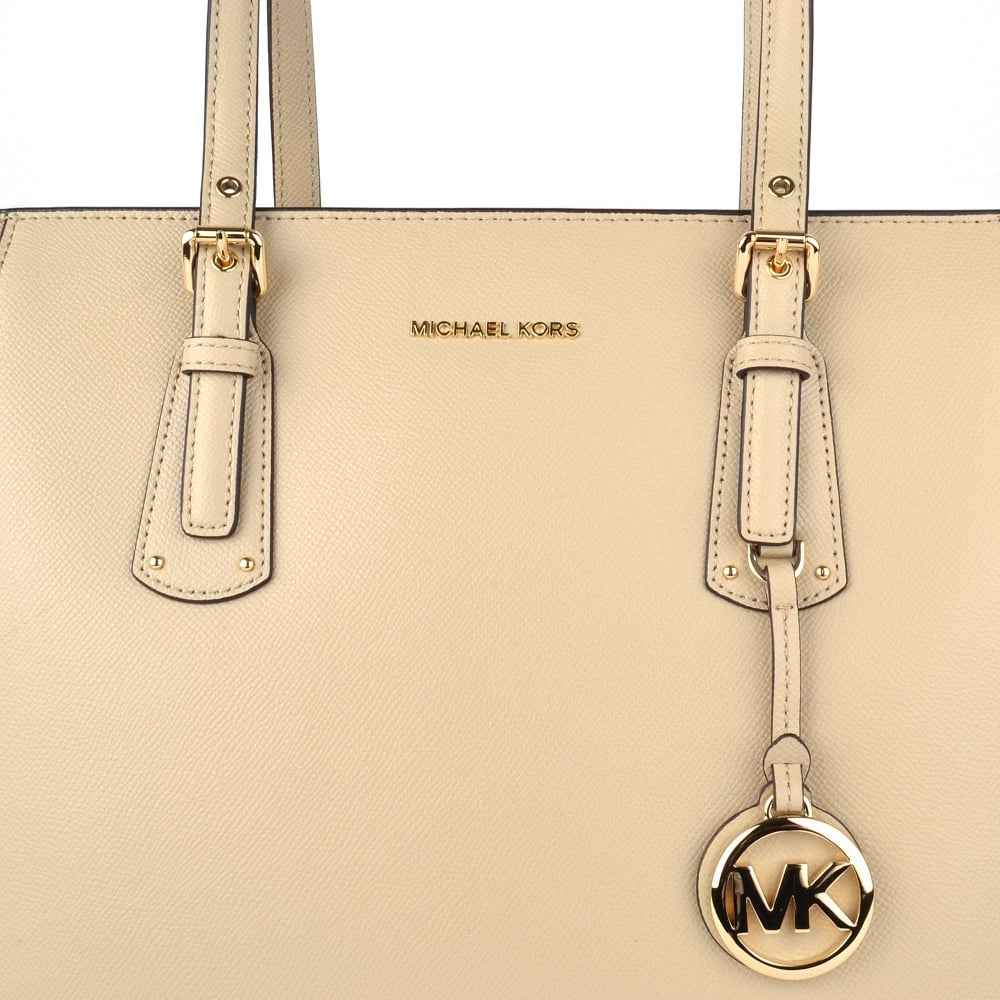 897129654726c MICHAEL by Michael Kors Voyager Oat Leather Medium Top Zip Tote Bag