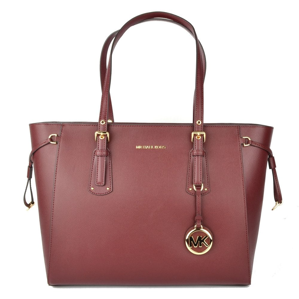 f3a6df3efca3a1 MICHAEL by Michael Kors Voyager Oxblood Leather Medium Top Zip Tote Bag