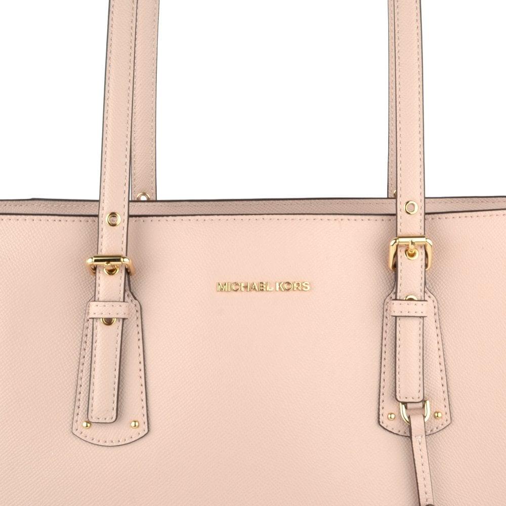 9322c5d642dbd6 MICHAEL MICHAEL KORS Voyager Soft Pink Leather Medium Top Zip Tote Bag