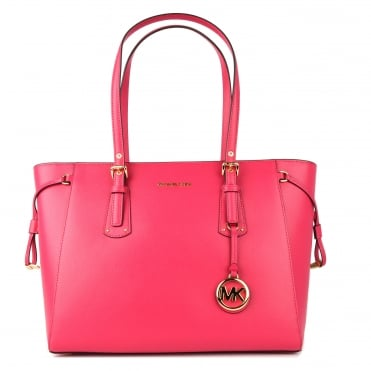 Voyager Ultra Pink Leather Medium Top Zip Tote Bag