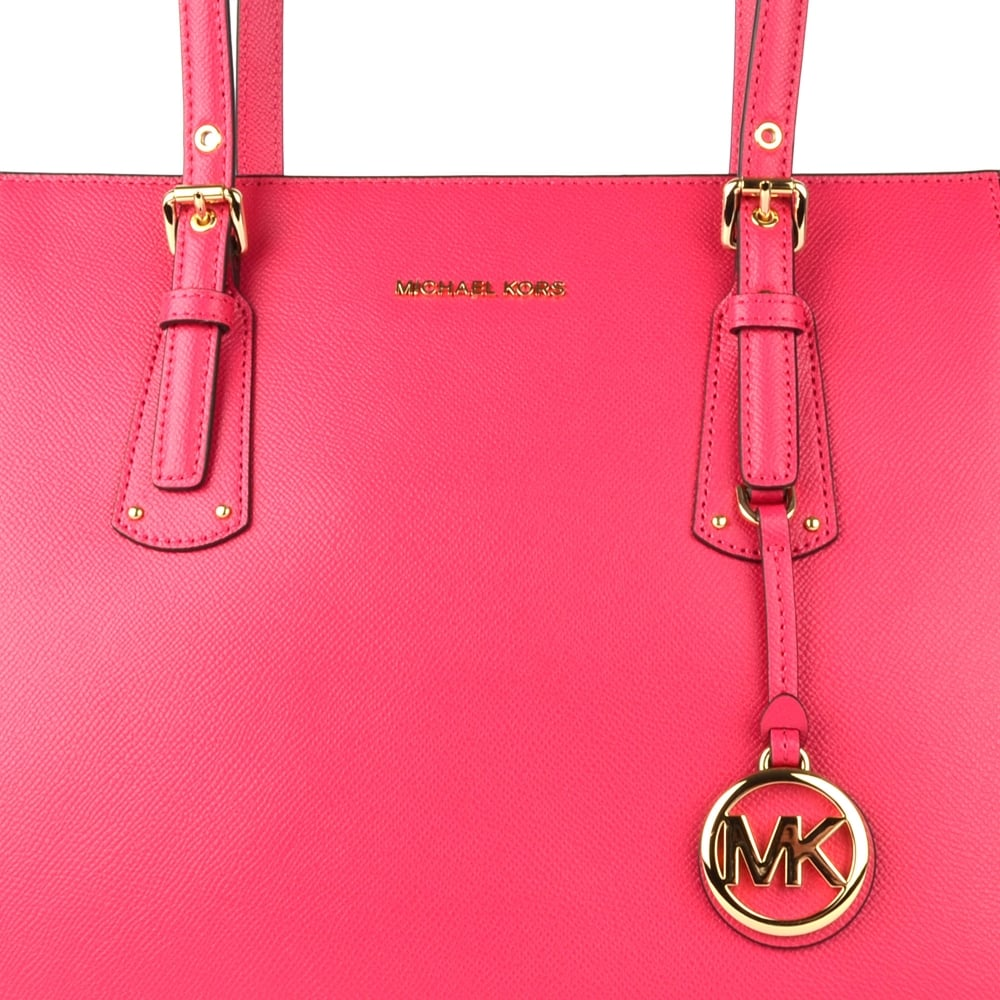 MICHAEL MICHAEL KORS Voyager Ultra Pink Leather Medium Top Zip Tote Bag fa44a318a9