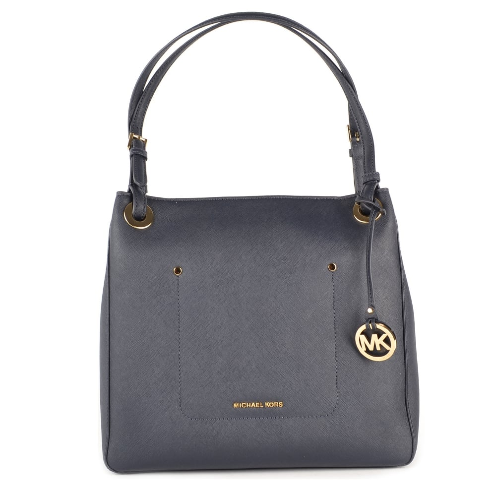 32993ae0112e MICHAEL by Michael Kors Walsh Admiral 'Navy' Leather Medium Tote Bag