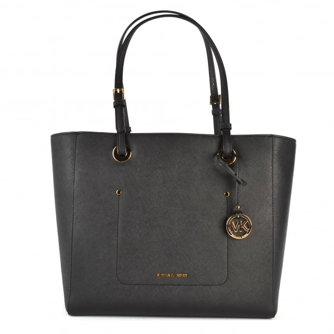 MICHAEL by Michael Kors Walsh Black Large Leather Tote