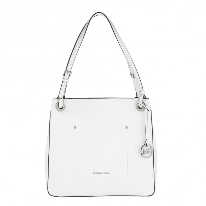MICHAEL by Michael Kors Walsh Optic White Leather Medium Tote Bag