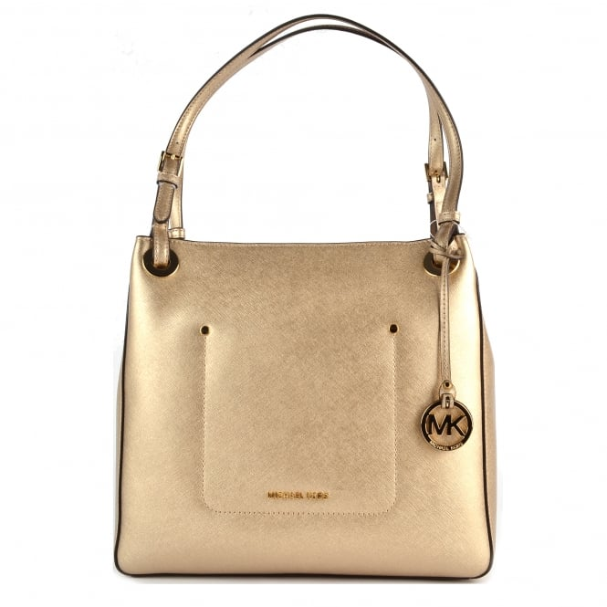MICHAEL by Michael Kors Walsh Pale Gold Leather Medium Tote Bag