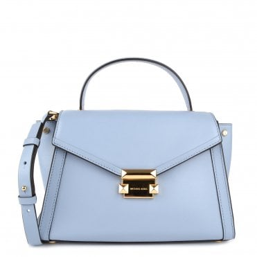 Whitney Pale Blue Leather Medium Satchel