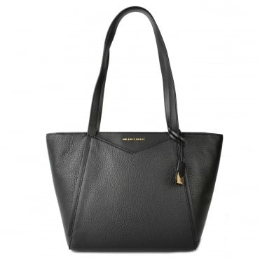 Whitney Small Black Top Zip Tote