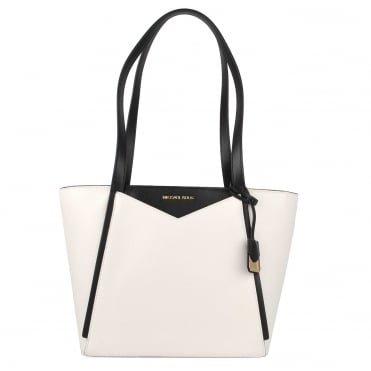 Whitney Small White and Black Top Zip Tote