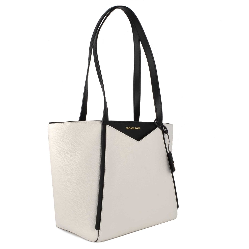 db9783db6be9 MICHAEL MICHAEL KORS Whitney Small White and Black Top Zip Tote