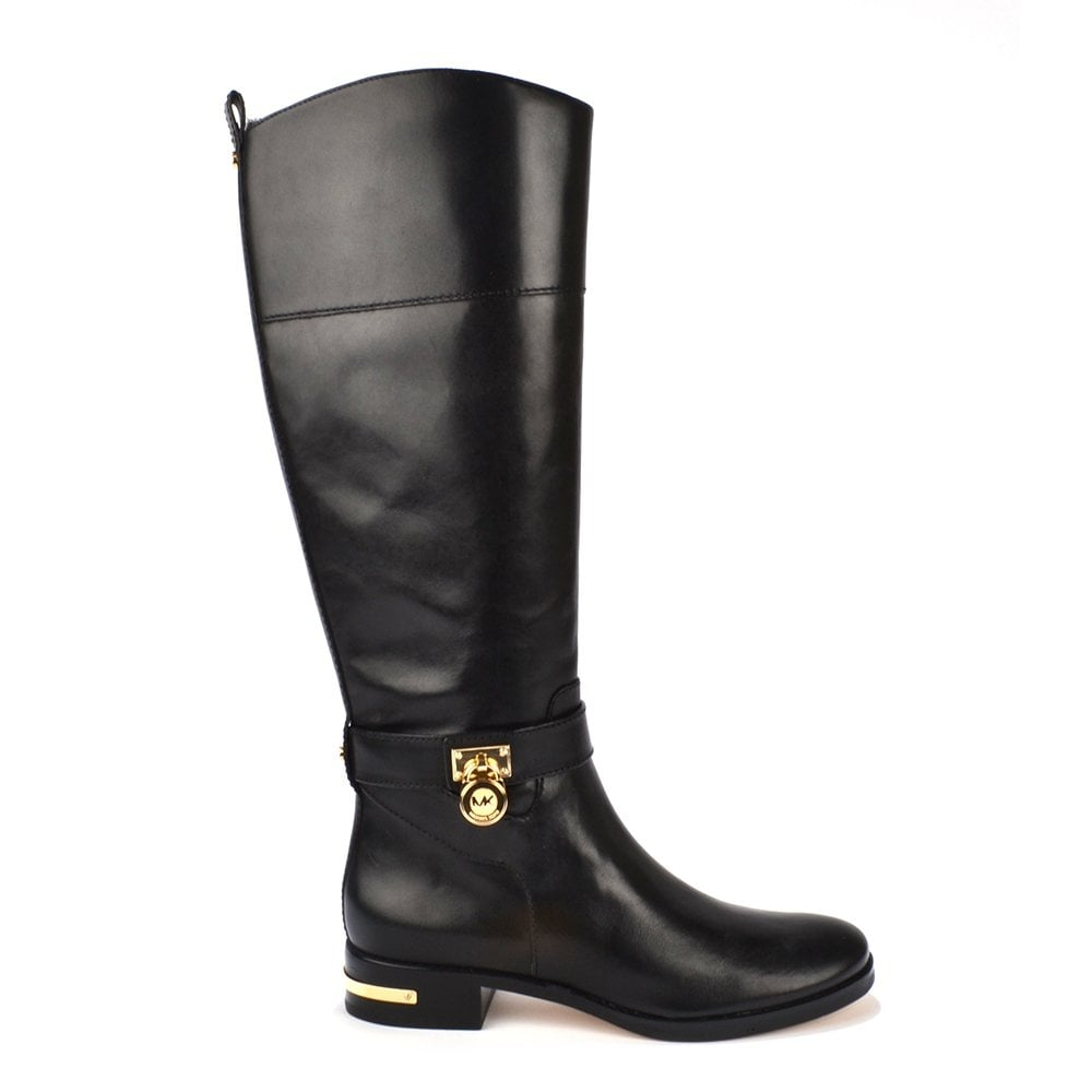 Aileen Black Leather Riding Boot