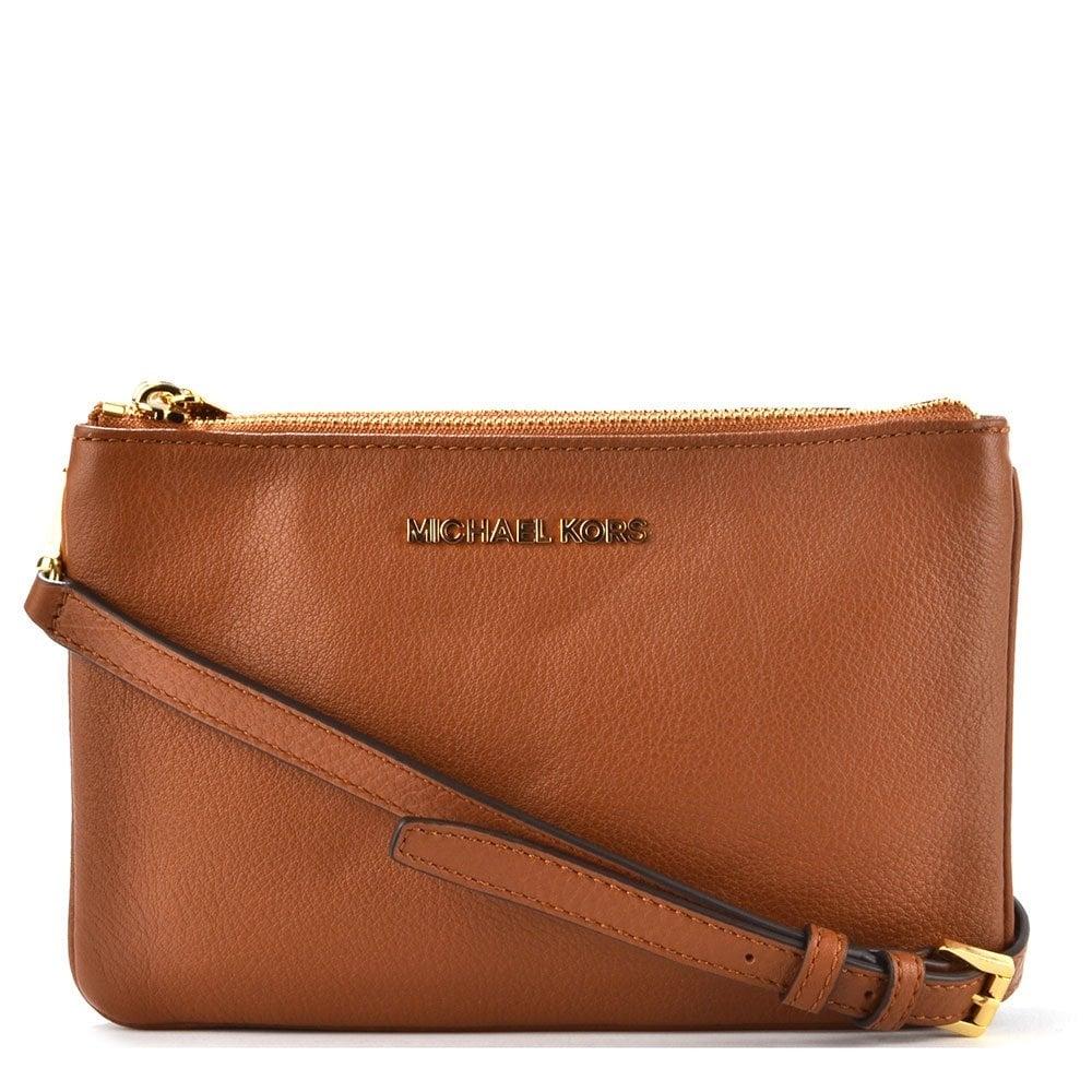 20ad72797607 MICHAEL by Michael Kors Bedford Tan Gusset Crossbody Bag