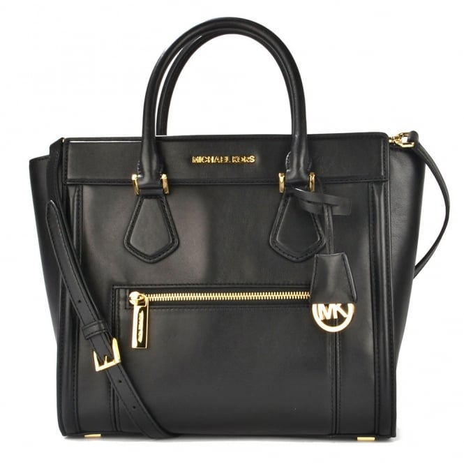 MICHAEL by Michael Kors Colette Black Leather Satchel