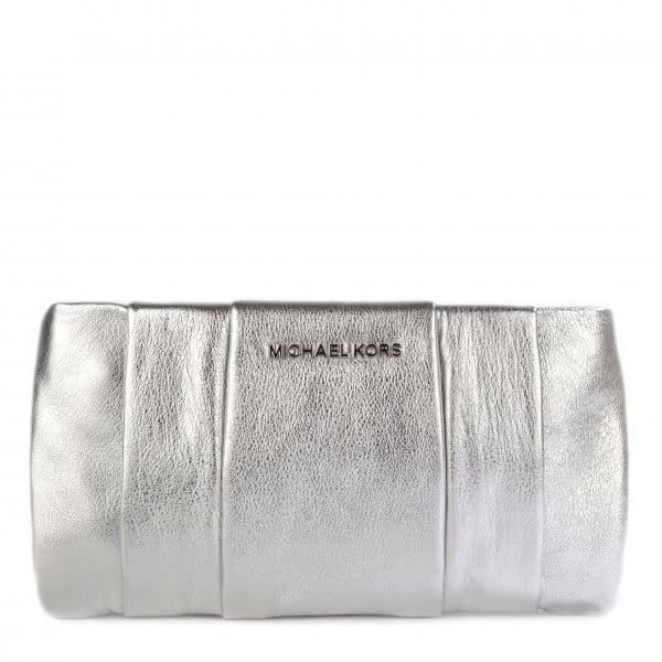 Michael By Kors Daria Silver Pleated Clutch