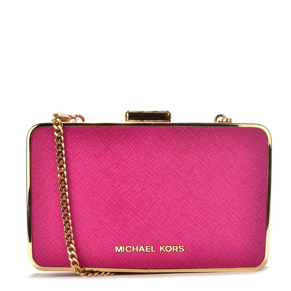 fe74b8404302 MICHAEL by Michael Kors Elsie Fuschia Pink Leather Box Clutch