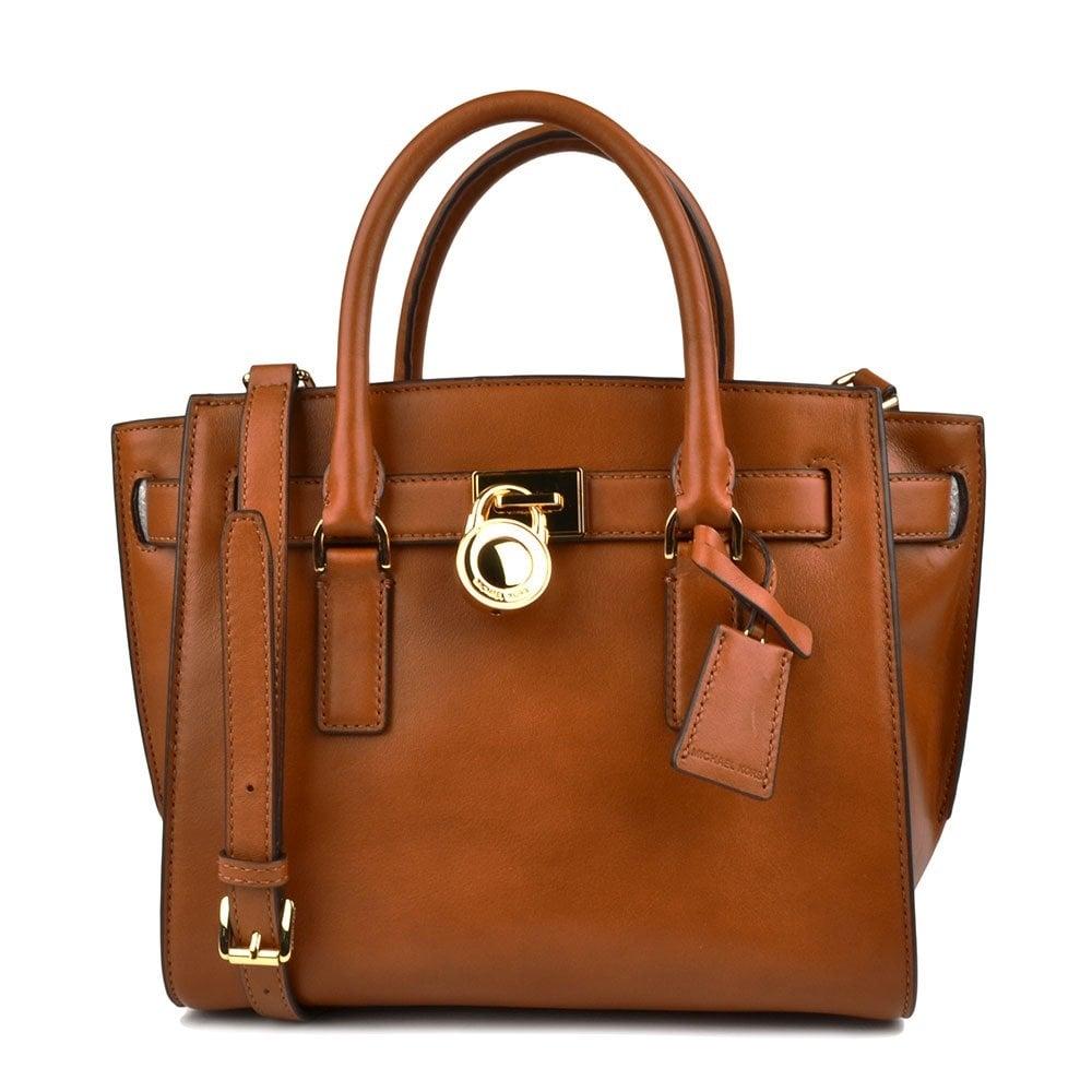Michael By Kors Hamilton Traveler Tan Leather Medium Bag