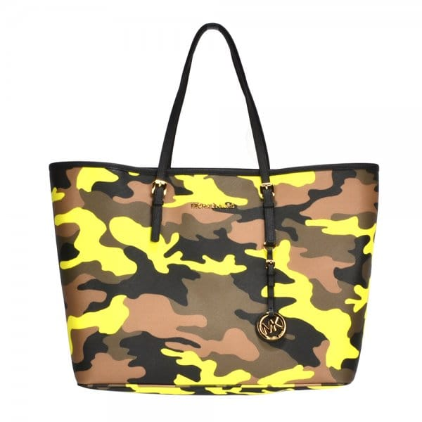 4741a8d32bed MICHAEL by Michael Kors Jet Set Acid Lemon Camouflage Travel Tote