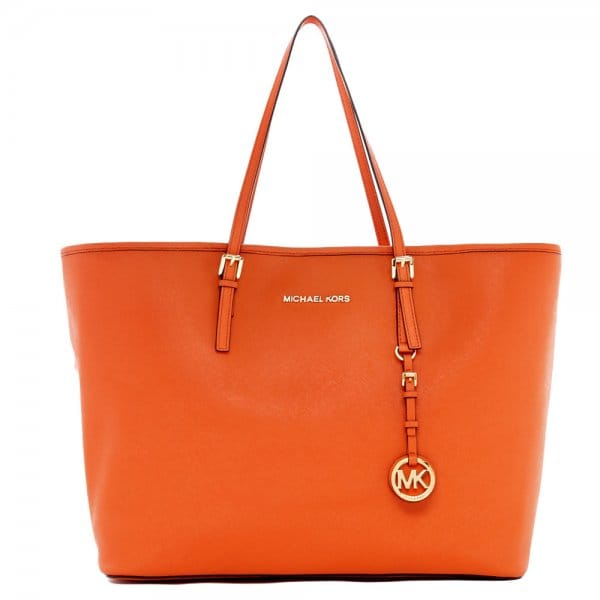 4fba9ef30058 MICHAEL by Michael Kors Jet Set Travel Burnt Orange Leather Tote Bag