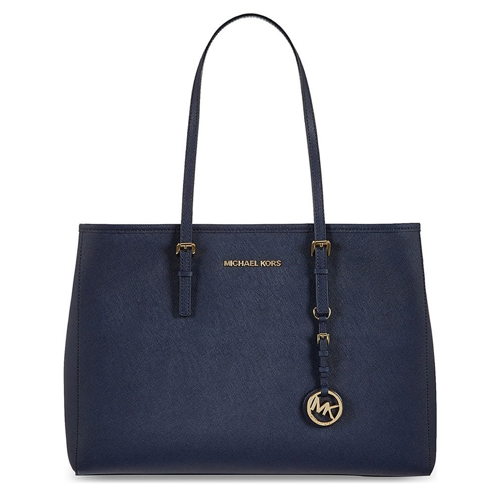 a64d9d4914cd4f MICHAEL by Michael Kors Jet Set Travel Navy Textured Leather Tote ...