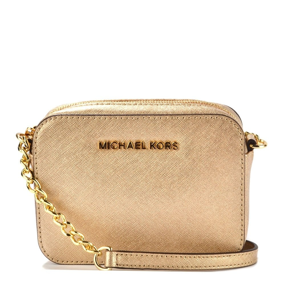 michael by michael kors jet set travel pale gold crossbody. Black Bedroom Furniture Sets. Home Design Ideas