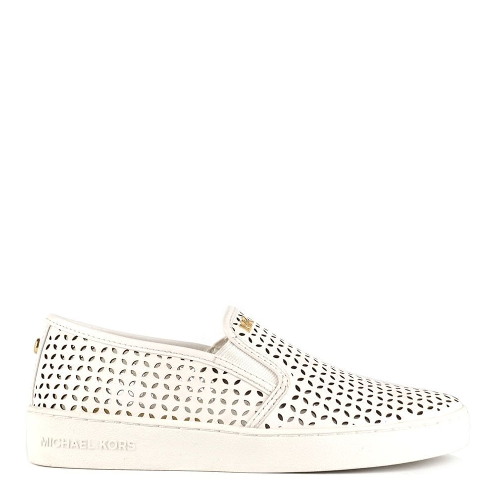 c574a72f MICHAEL by Michael Kors Olivia White Perforated Leather Slip On Trainer
