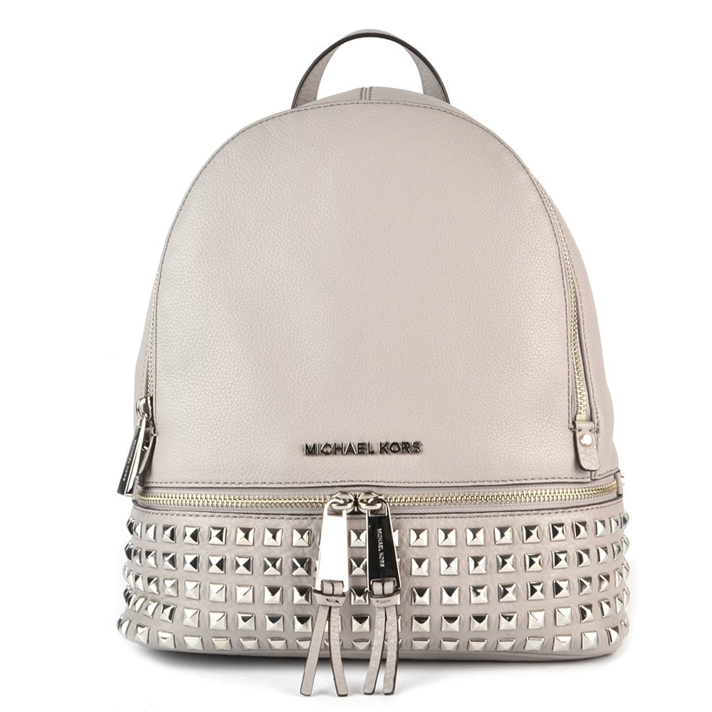 90e9f43e9d740 MICHAEL by Michael Kors Rhea Zip Studded Pearl Grey Backpack - Women ...