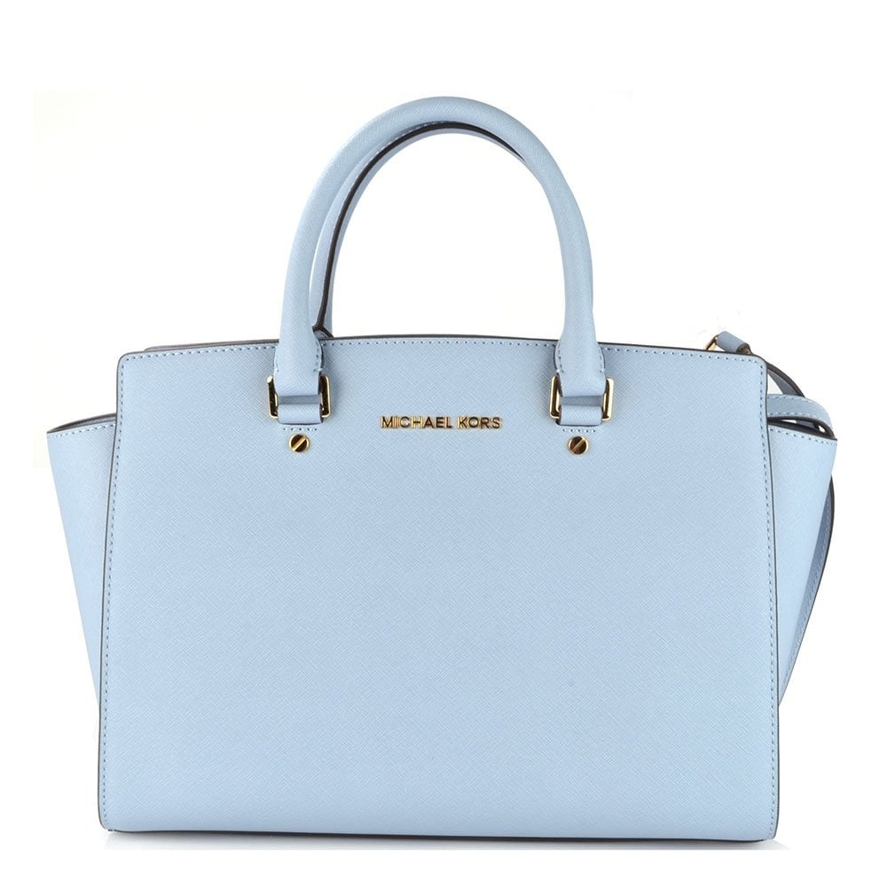 6ba5669db670 MICHAEL by Michael Kors Selma Pale Blue Leather Large Satchel ...