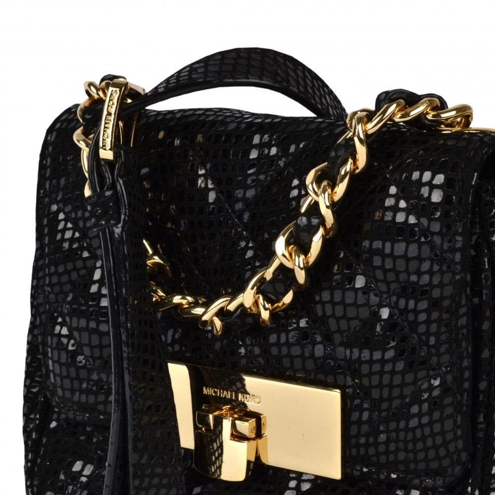 f87a387386fd Susannah Lock Quilted Patent Snake Messenger Bag