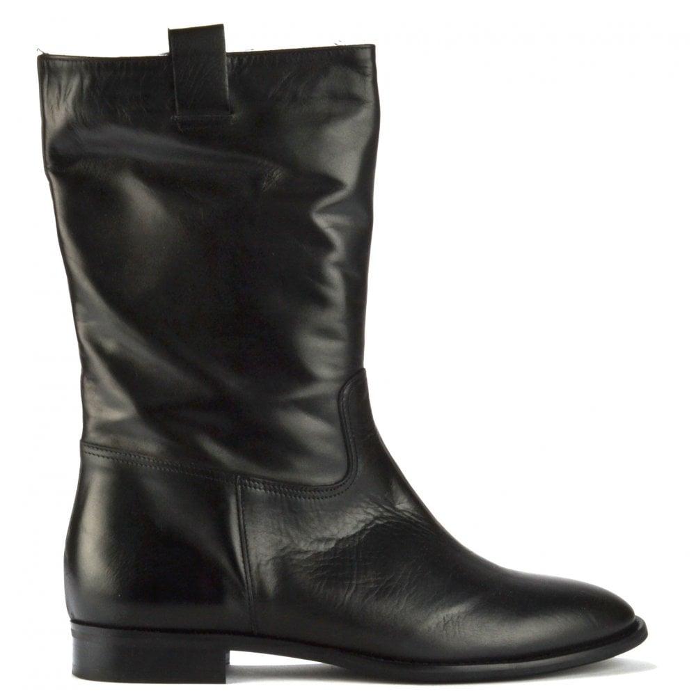 Pure Italian Lucia Black Leather Flat Boot - Women from Brand Boudoir UK 230dddb60