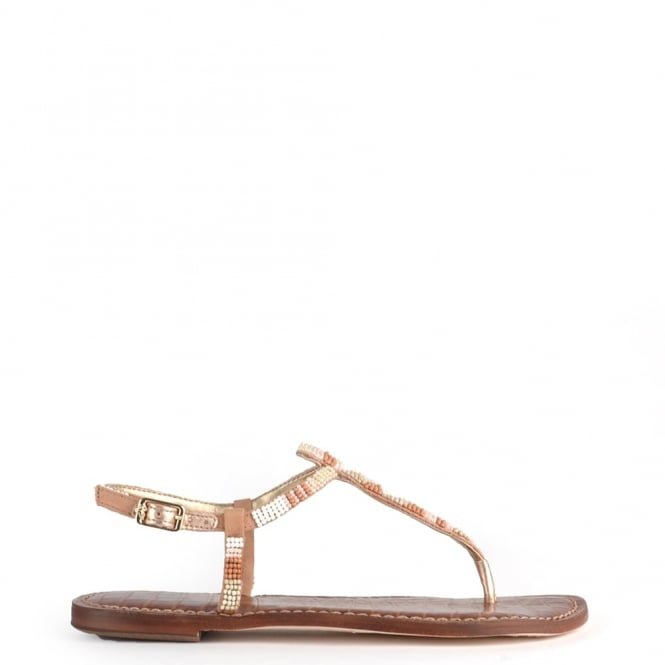 Sam Edelman Gail White and Nude Beaded Leather Sandal