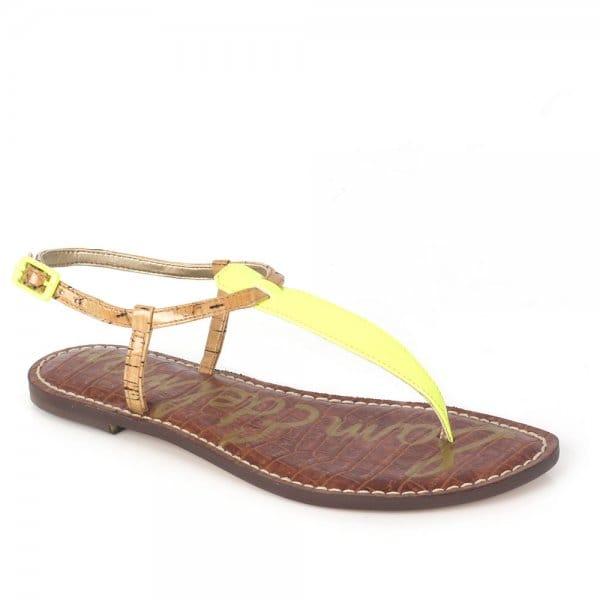 Sam Edelman Gigi Neon Citrine T Strap Flat Sandals