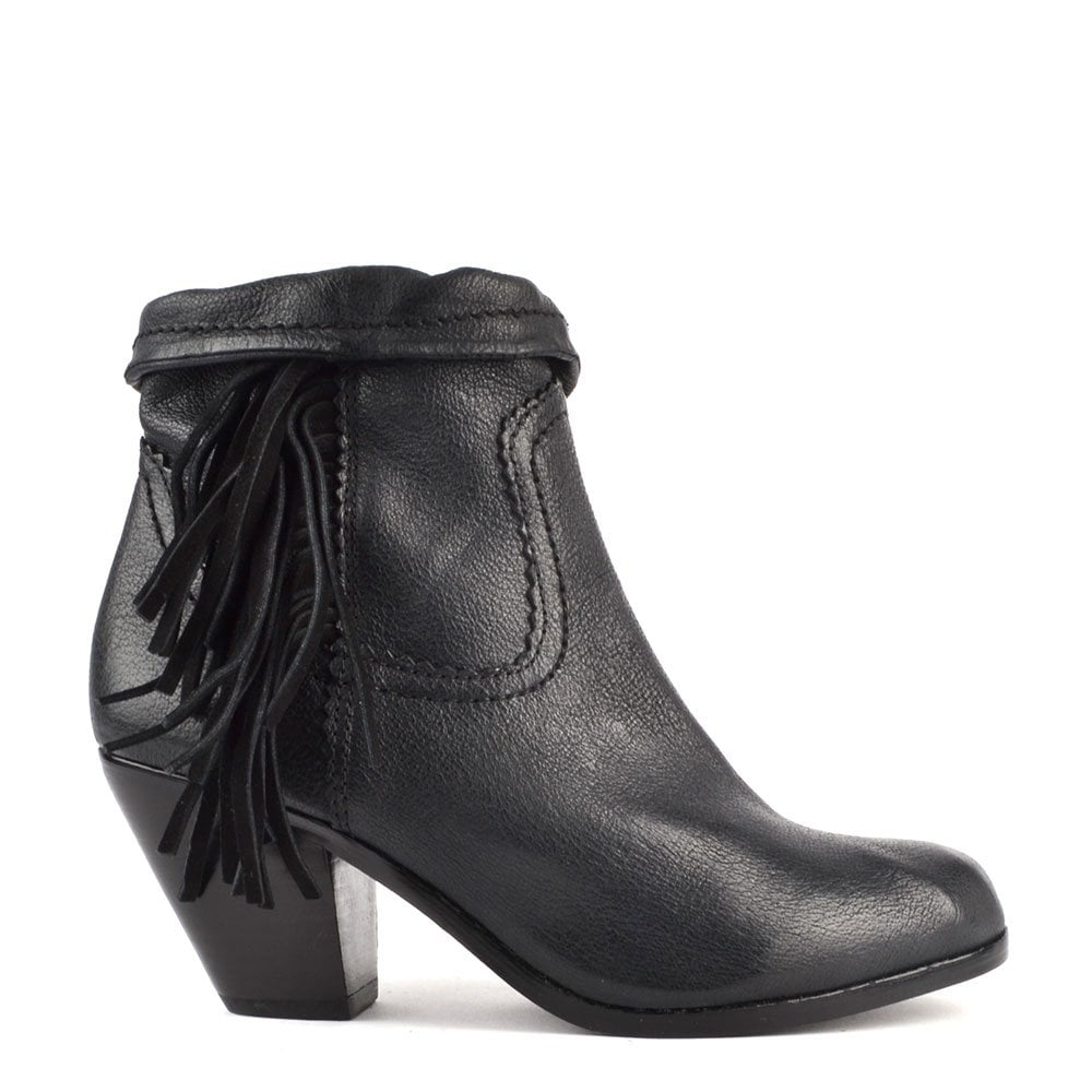 013bc463124e54 Sam Edelman Louie Black Leather Fringe Ankle Boot - Women from Brand ...