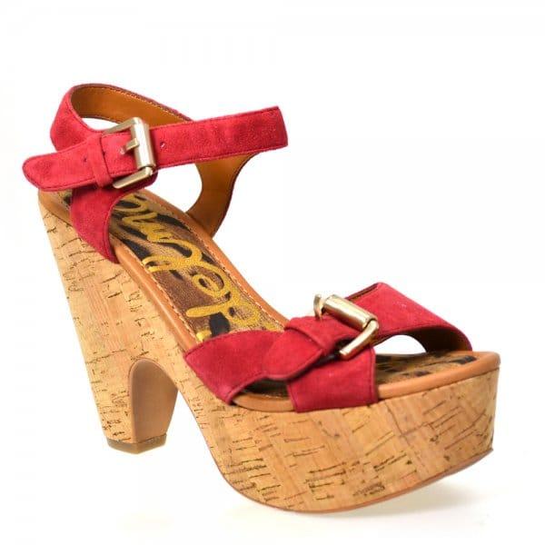 ba9a86fedf6fc9 Sam Edelman Warner Ruby Red Suede Cork Platform Sandal