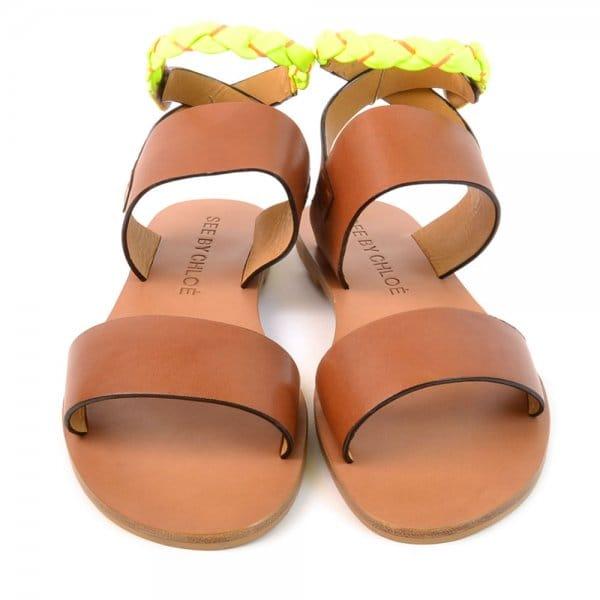 7444330c93c Fluro Ankle Strap Flat Leather Sandals