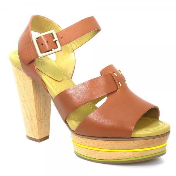 30b59700326 See By Chloe Tan Wood Leather Platform Sandal SB18005