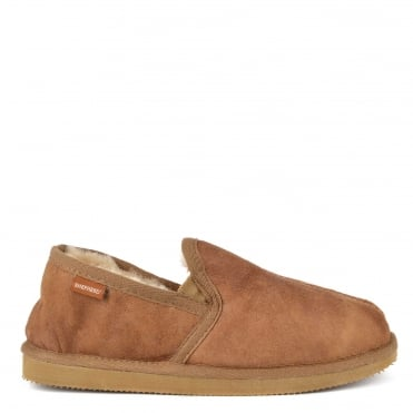 Mens' Bosse Antique Cognac Suede Slipper