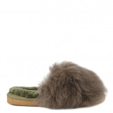 Tessan Olive Fluffy Slipper