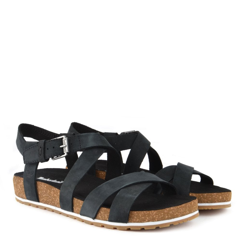 Malibu Waves Black Suede Flat Sandal