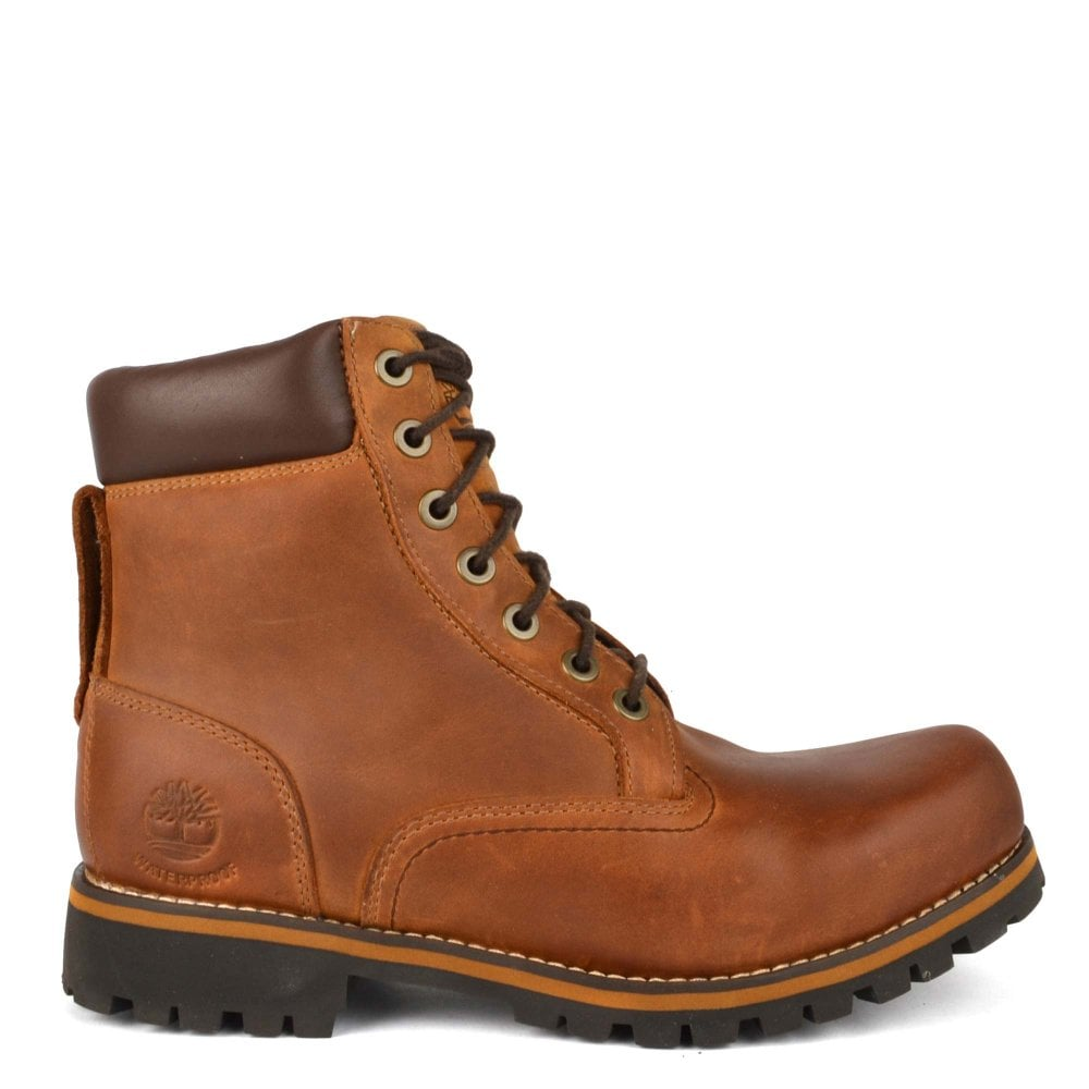 Mens' Rugged 6 Inch Plain Toe Brown Boot