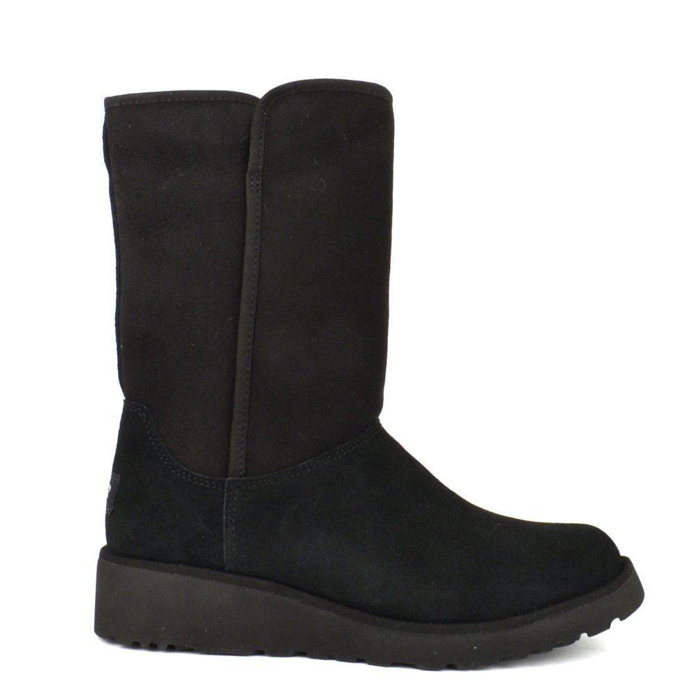 267bcb62b73 Amie Classic Black Suede Wedge Sheepskin Boot