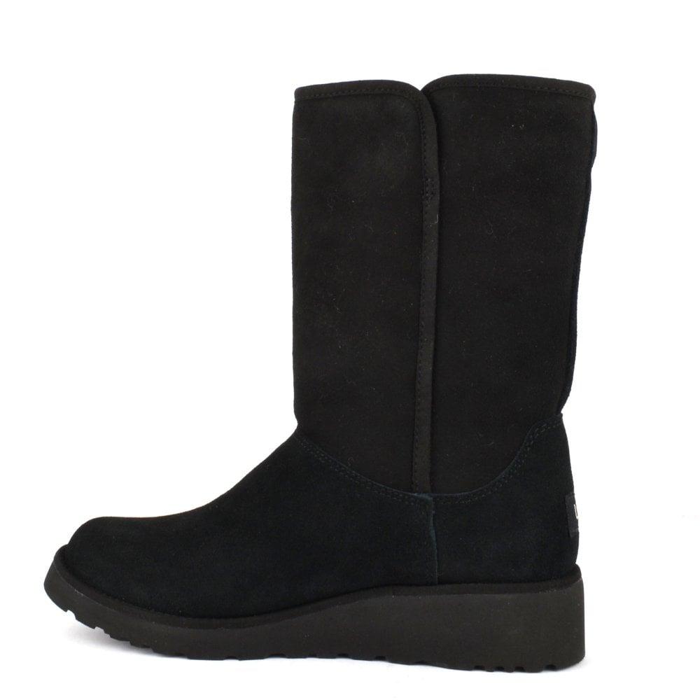 44239c0c485 Amie Classic Black Suede Wedge Sheepskin Boot
