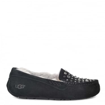 Ansley Studded Bling Black Suede Slipper