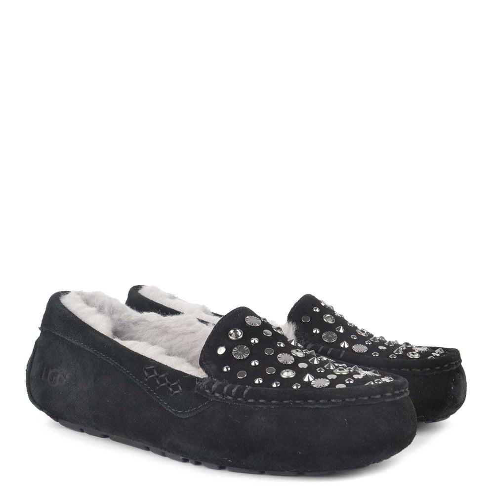 dc61355908d UGG Ansley Studded Bling Black Suede Slipper