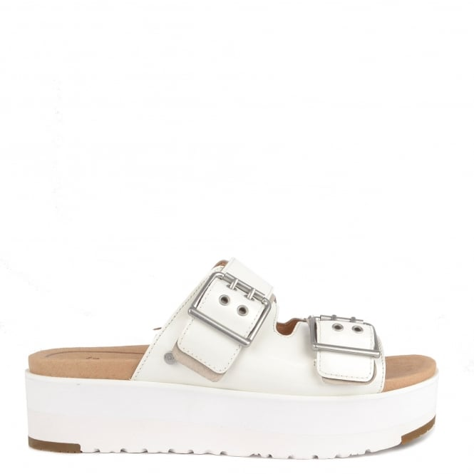 UGG Cammie White Patent Leather Platform Sandal