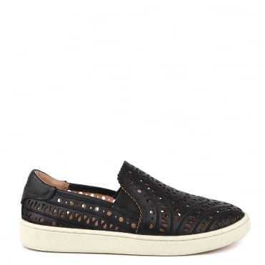 Cas Black Perforated Slip On Trainer
